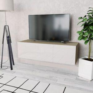 Móvel TV em aglomerado 120x40x34 cm branco brilhante/carvalho - PORTES GRÁTIS