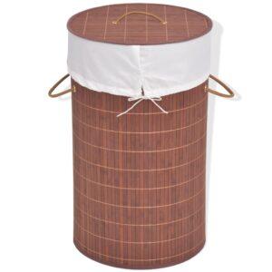 Cesto redondo para roupa suja bambu castanho - PORTES GRÁTIS