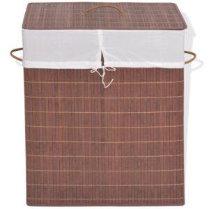 Cesto retangular para roupa suja bambu castanho - PORTES GRÁTIS