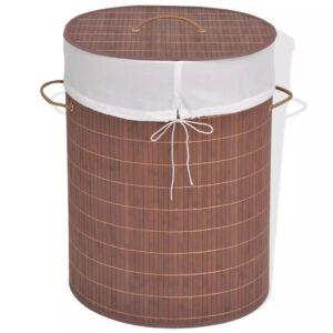 Cesto oval para roupa suja bambu castanho - PORTES GRÁTIS