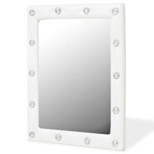 Espelho de parede couro artificial 40x50 cm branco brilhante - PORTES GRÁTIS