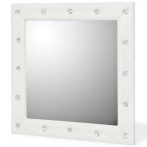 Espelho de parede couro artificial 60x60 cm branco brilhante - PORTES GRÁTIS