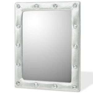 Espelho de parede couro artificial 40x50 cm prateado brilhante - PORTES GRÁTIS