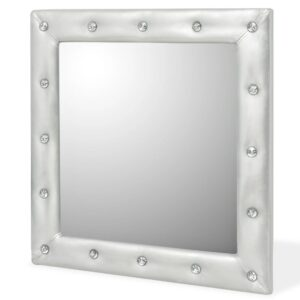Espelho de parede couro artificial 60x60 cm prateado brilhante - PORTES GRÁTIS