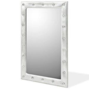 Espelho de parede couro artificial 60x90 cm prateado brilhante - PORTES GRÁTIS