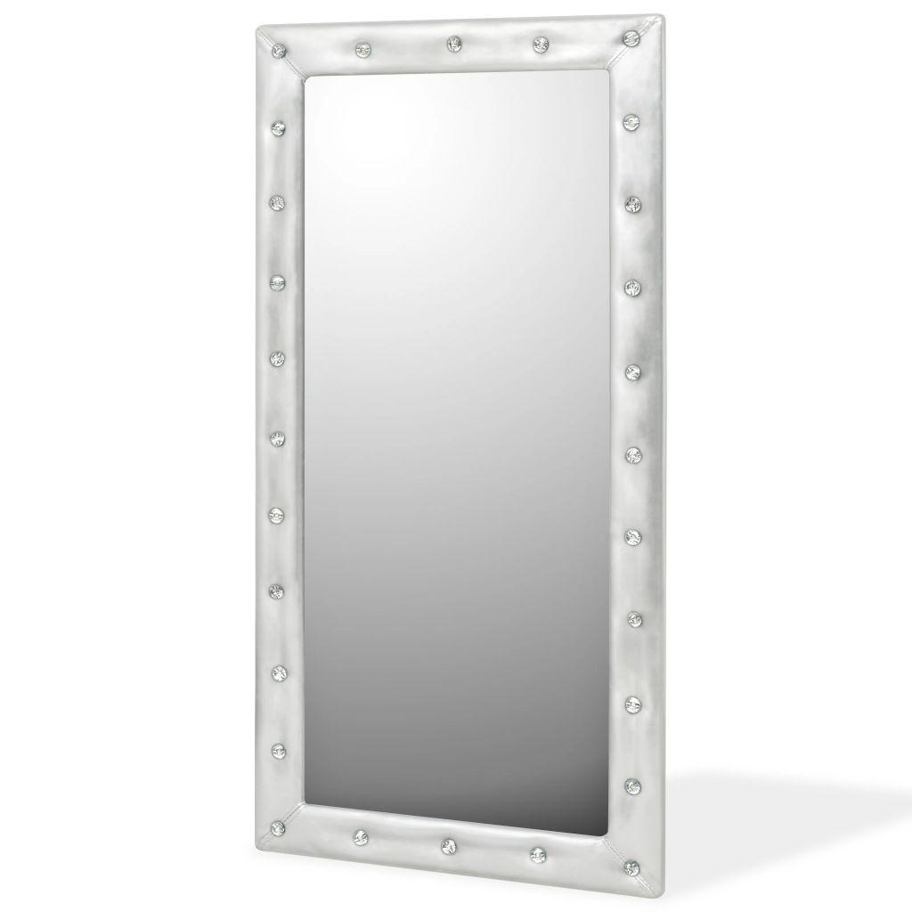 Espelho de parede couro artificial 60×120 cm prateado brilhante – PORTES GRÁTIS