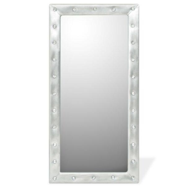 Espelho de parede couro artificial 60x120 cm prateado brilhante - PORTES GRÁTIS