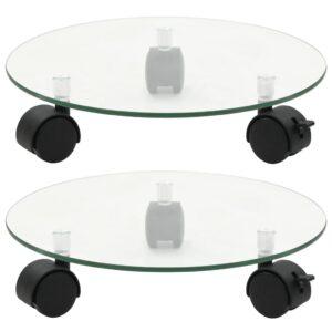 Bases com rodas p/ vasos 2 pcs vidro temperado 28 cm redondo - PORTES GRÁTIS