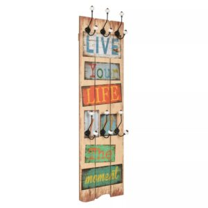 Bengaleiro de parede com 6 ganchos 120x40 cm LIVE LIFE  - PORTES GRÁTIS