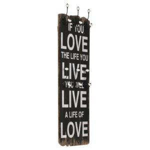 Bengaleiro de parede com 6 ganchos 120x40 cm LOVE LIVE  - PORTES GRÁTIS