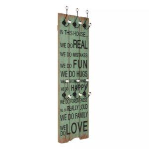 Bengaleiro de parede com 6 ganchos 120x40 cm HAPPY LOVE  - PORTES GRÁTIS