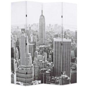 Biombo dobrável Nova Iorque de dia 160x170 cm preto e branco - PORTES GRÁTIS