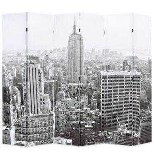 Biombo dobrável Nova Iorque de dia 228x170 cm preto e branco - PORTES GRÁTIS