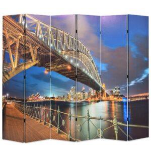 Biombo dobrável estampa da ponte do porto de Sydney 228x170 cm - PORTES GRÁTIS