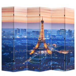 Biombo dobrável Paris à noite 228x170 cm - PORTES GRÁTIS