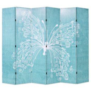 Biombo dobrável com estampa de borboleta azul 228x170 cm - PORTES GRÁTIS