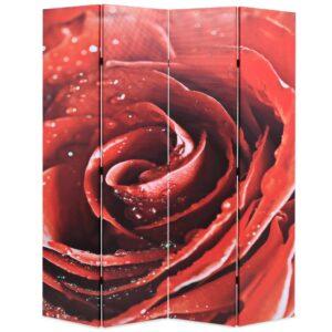 Biombo dobrável com estampa de rosa vermelha 160x170 cm - PORTES GRÁTIS