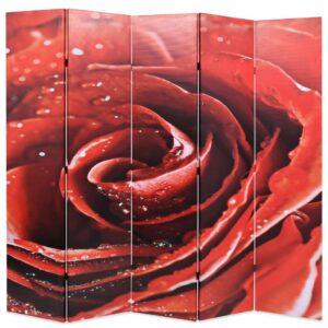 Biombo dobrável com estampa de rosa vermelha 200x170 cm - PORTES GRÁTIS