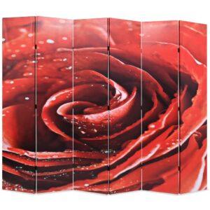 Biombo dobrável com estampa de rosa vermelha 228x170 cm - PORTES GRÁTIS