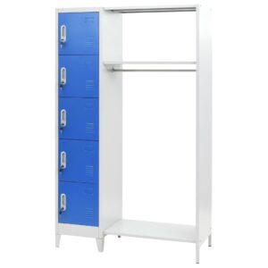 Cacifo com cabide 110x45x180 cm metal azul e cinzento - PORTES GRÁTIS