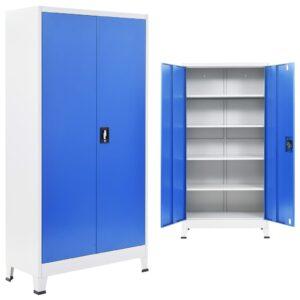 Armário de escritório 90x40x180 cm metal cinzento e azul - PORTES GRÁTIS