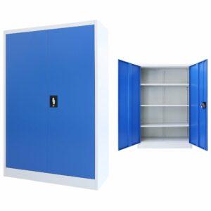 Armário de escritório 90x40x140 cm metal cinzento e azul - PORTES GRÁTIS