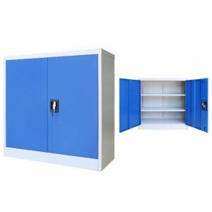 Armário de escritório 90x40x90 cm metal cinzento e azul - PORTES GRÁTIS