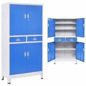 Armário escritório c/ 4 portas metal 90x40x180 cm cinza e azul - PORTES GRÁTIS