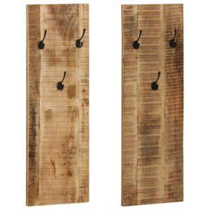 Bengaleiro parede 2 pcs madeira mangueira maciça 36x110x3 cm - PORTES GRÁTIS