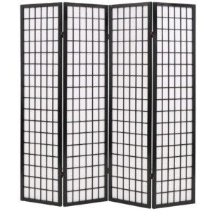 Biombo dobrável com 4 painéis estilo japonês 160x170 cm preto - PORTES GRÁTIS