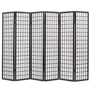 Biombo dobrável com 6 painéis estilo japonês 240x170 cm preto - PORTES GRÁTIS