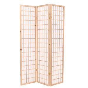 Biombo dobrável com 3 painéis estilo japonês 120x170 cm natural - PORTES GRÁTIS