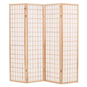 Biombo dobrável com 4 painéis estilo japonês 160x170 cm natural - PORTES GRÁTIS