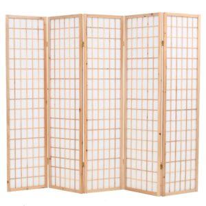 Biombo dobrável com 5 painéis estilo japonês 200x170 cm natural - PORTES GRÁTIS
