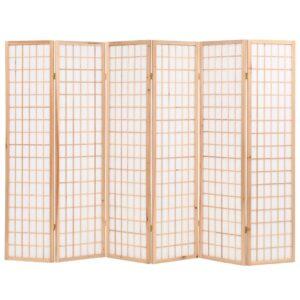 Biombo dobrável com 6 painéis estilo japonês 240x170 cm natural - PORTES GRÁTIS
