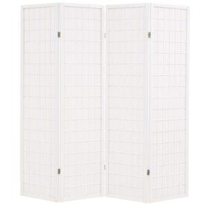 Biombo dobrável com 4 painéis estilo japonês 160x170 cm branco - PORTES GRÁTIS