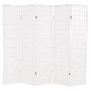 Biombo dobrável com 5 painéis estilo japonês 200x170 cm branco - PORTES GRÁTIS