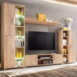 Unidade de parede para TV com luzes LED carvalho sonoma - PORTES GRÁTIS