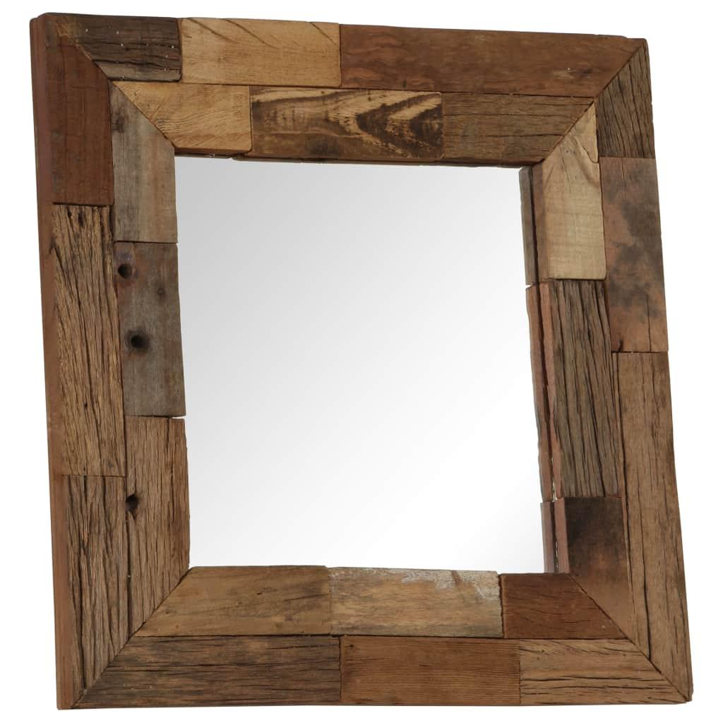 Espelho em traves de madeira ferroviária maciça 50×50 cm – PORTES GRÁTIS