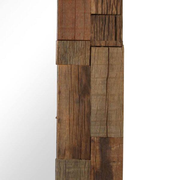 Espelho em traves de madeira ferroviária maciça 50x50 cm - PORTES GRÁTIS