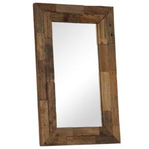 Espelho em traves de madeira ferroviária maciça 50x80 cm - PORTES GRÁTIS