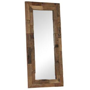 Espelho em traves de madeira ferroviária maciça 50x110 cm - PORTES GRÁTIS