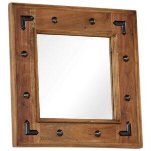 Espelho em madeira de acácia maciça 50x50 cm - PORTES GRÁTIS
