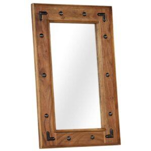 Espelho em madeira de acácia maciça 50x80 cm - PORTES GRÁTIS