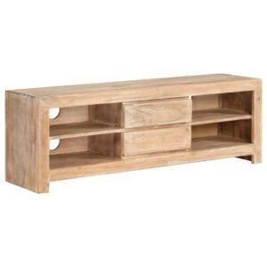 Móvel TV madeira de acácia maciça 120x30x40 cm castanho claro - PORTES GRÁTIS