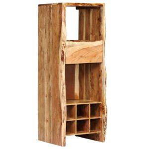 Garrafeira madeira de acácia maciça c/ nós vivos 40x40x110 cm - PORTES GRÁTIS