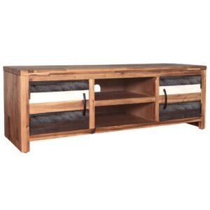 Móvel de TV em madeira de acácia maciça 120x35x45 cm - PORTES GRÁTIS