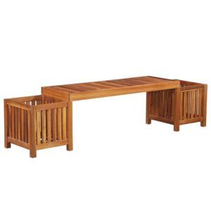 Banco com vasos de jardim madeira de acácia maciça 180x40x44 cm - PORTES GRÁTIS