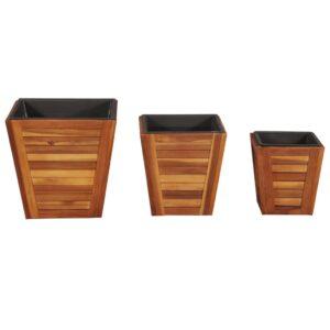 Conjunto vasos de jardim quadrados 3 pcs madeira acácia maciça - PORTES GRÁTIS