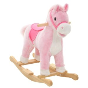 Animal de baloiçar cavalo em pelúcia 65x32x58 cm rosa - PORTES GRÁTIS